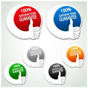 Vector satisfaction guarantee labels with gesture hand - illustration